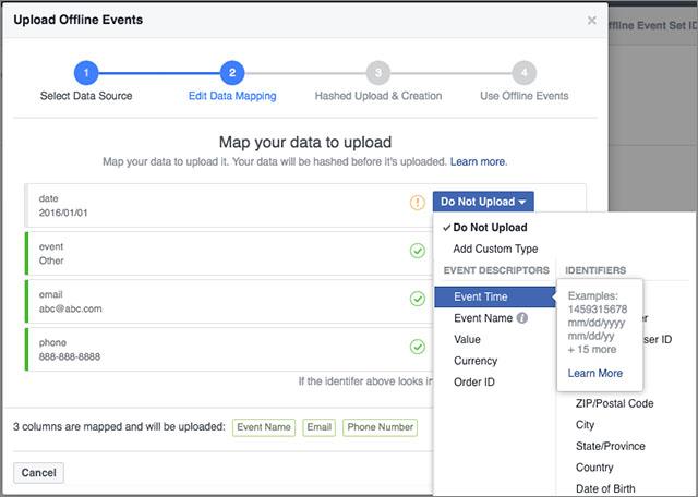 Facebook prepojenie dát