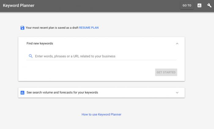 Nový dizajn keyword planner