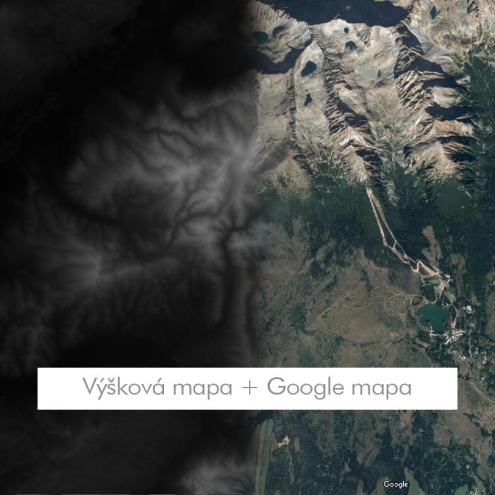 Výšková mapa + Google mapa