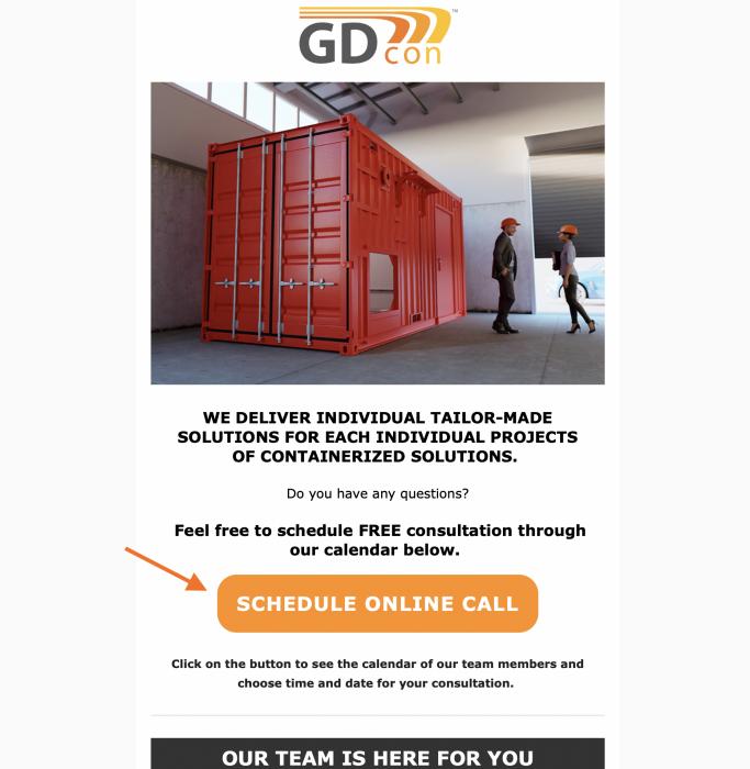 Do emailov, ktoré posielate potenciálnym zákazníkom, neváhajte pridať výzvu na kontaktovanie, alebo rezerváciu termínu stretnutia.
