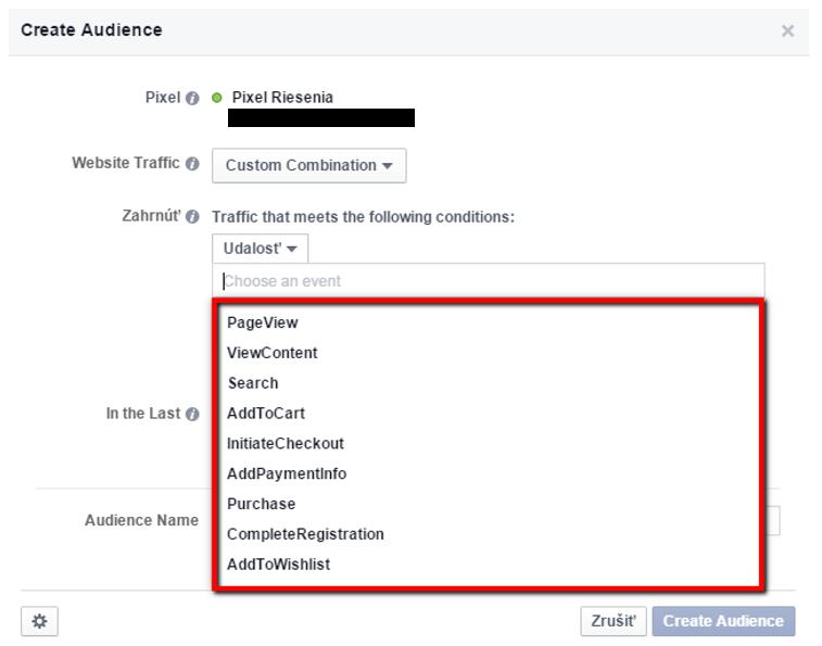 Facebook filtrovanie podľa udalostí