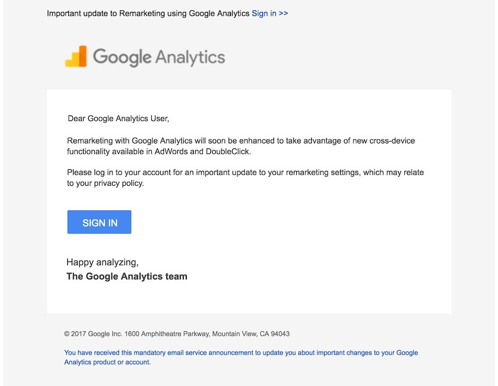 google analytics-email