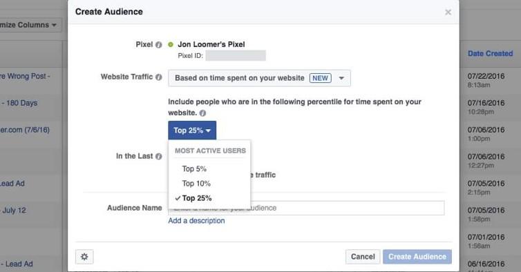 Facebook publikum na základe času