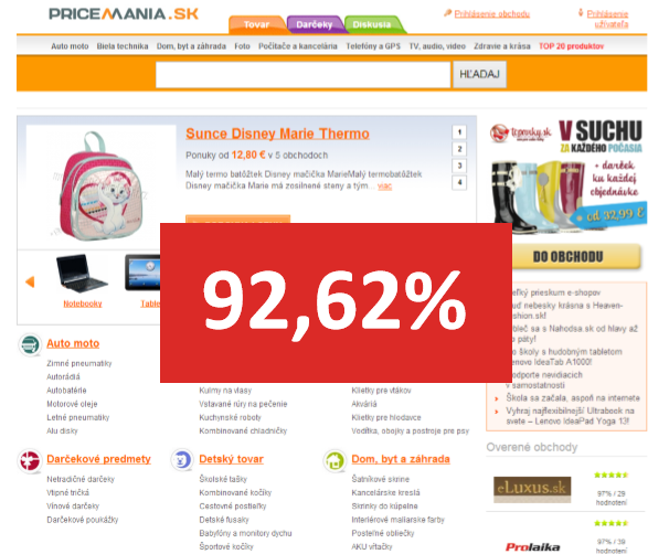 Homepage Pricemania.sk