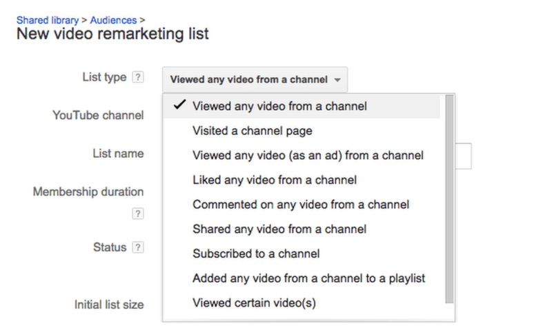 YouTube Remarketing list